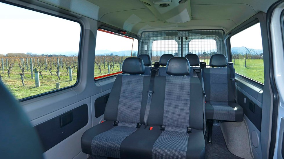 Inside one of our vans parked in a vineyard on a wine tour, near Blenheim in Marlborough at the top of New Zealand's South Island.