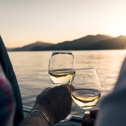Close up of hands holding wine glasses with the Marlborough Sounds in the background at sunset - the top of New Zealand's South Island