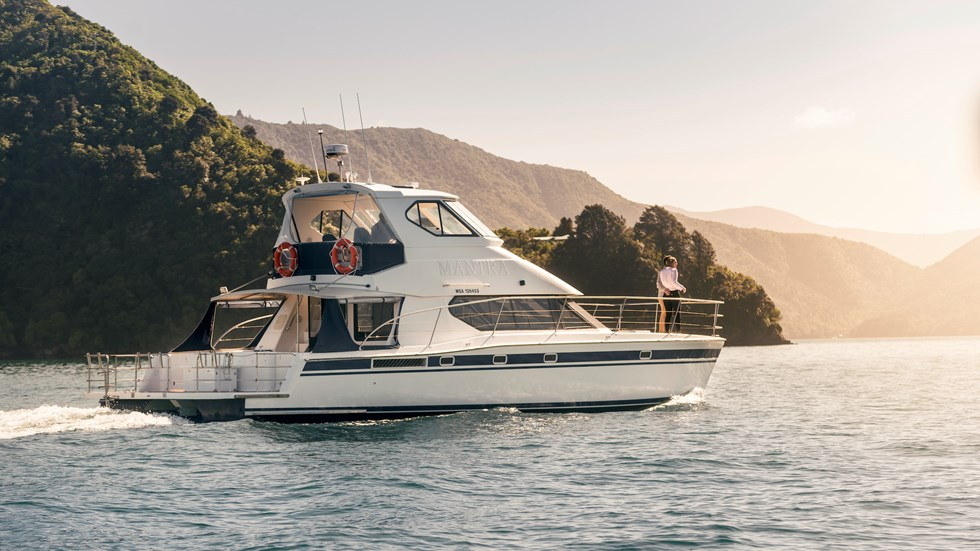 Marlborough Tour Company's MV Mantra cruises through New Zealand's spectacular Marlborough Sounds from Picton.