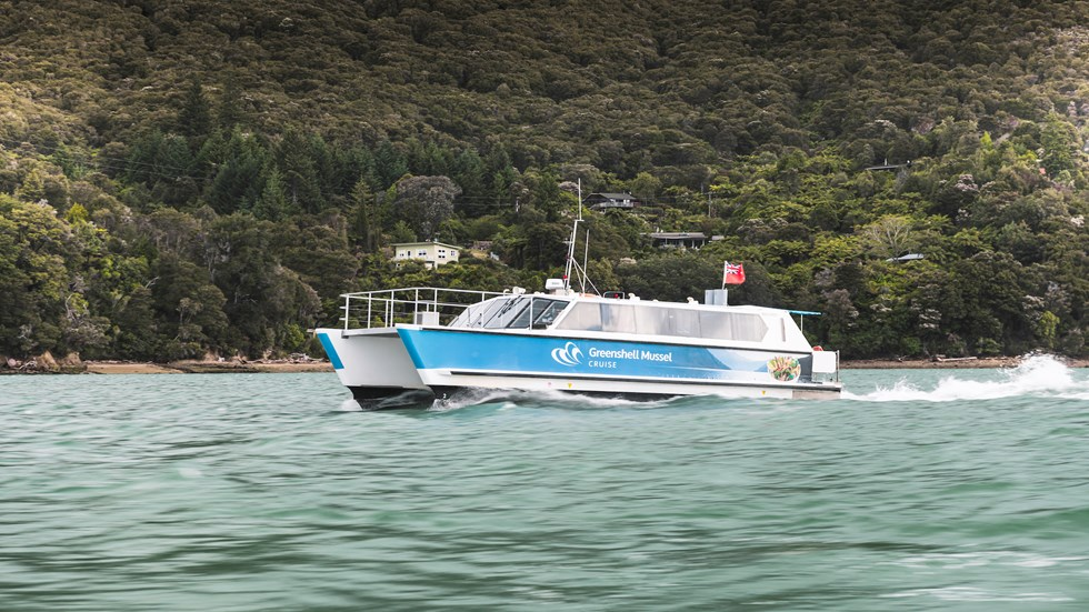 Marlborough Tour Company vessel MV Spirit cruises through Pelorus Sound from Havelock in New Zealand's Marlborough Sounds.
