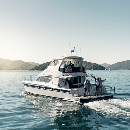 MV Mantra is ideal for small-medium group cruises and water-based transfers from Picton in New Zealand's Marlborough Sounds.