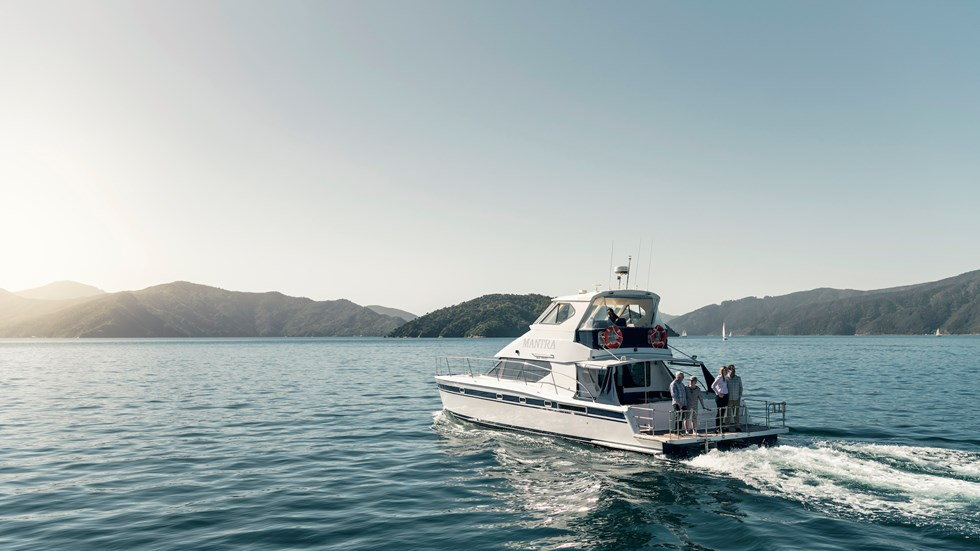 Marlborough Tour Company's MV Mantra cruises New Zealand's spectacular Marlborough Sounds with guests aboard a Seafood Odyssea cruise from Picton.