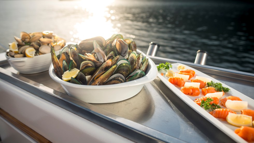Cloudy Bay Clams, Greenshell mussels and Regal salmon are served at the source on a Seafood Odyssea cruise in New Zealand's spectacular Marlborough Sounds from Picton.
