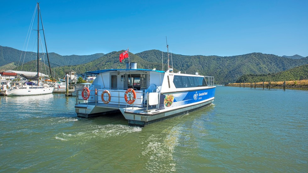 Marlborough Tour Company vessel MV Spirit leaves Havelock Marina for a cruise in New Zealand's Pelorus Sound at the top of the South Island.